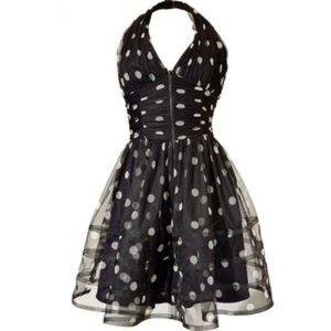 ❤ Betsey Johnson Polkadot Chiffon Halter Dress NWT